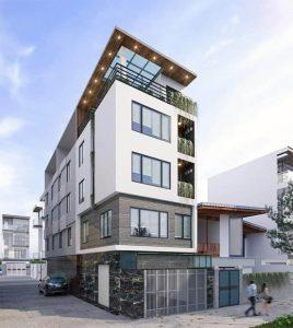 Bản vẽ phối cảnh nhà 5 tầng mặt phố Thanh Xuân