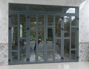 Mẫu cửa xingfa 4 cánh chia đố nhôm nghệ thuật