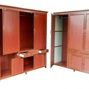 Mẫu tủ quần áo nhôm kính vân gỗ 3 buồng sang trọng