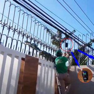 Lắp đặt máy phát laze trên tường rào chống trộm